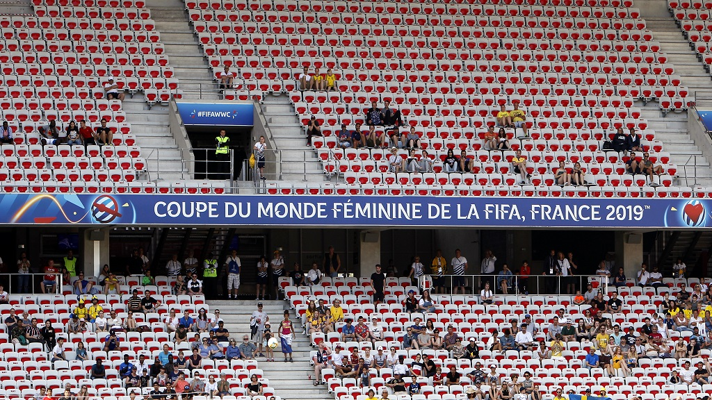 Spectators follow the Women's World Cup Group F soccer match between Sweden and Thailand at the Stade de Nice in Nice, France, Sunday, June 16, 2019.