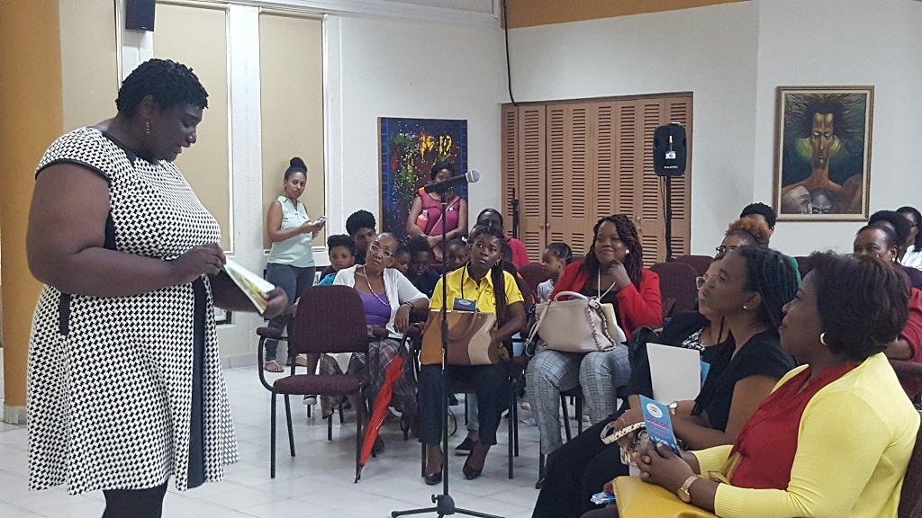 "Dr Lesley-Gail Atkinson Swaby presenting her recently published children's book,"" Boianani: A Taino Girl's First Adventure"" to an audience at The UWI. (Photo: Marlon Reid)"