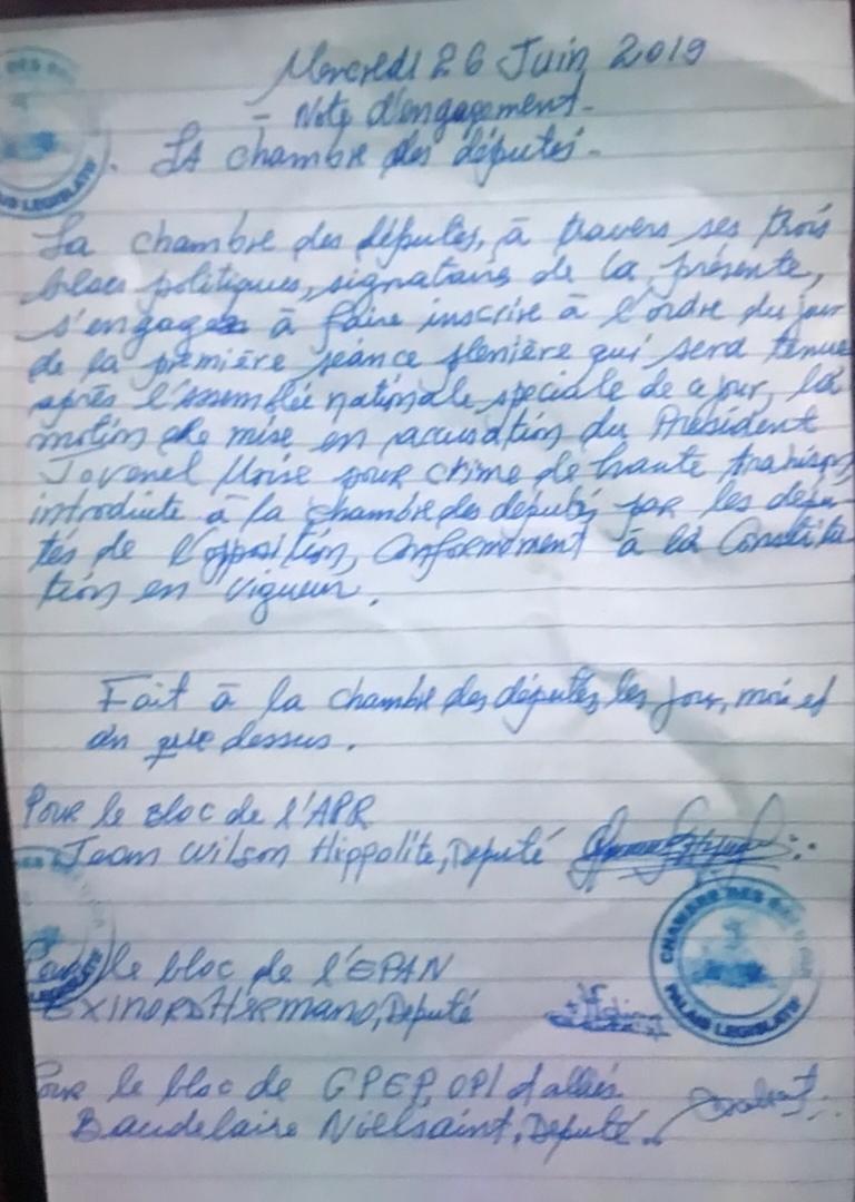 La note d'engagement signée par les blocs politiques de la chambre des députés indique que, pour la prochaine séance, la mise en accusation du président de la République Jovenel Moïse pour crime de haute trahison devra figurer à l'ordre du jour.  Amélie Baron