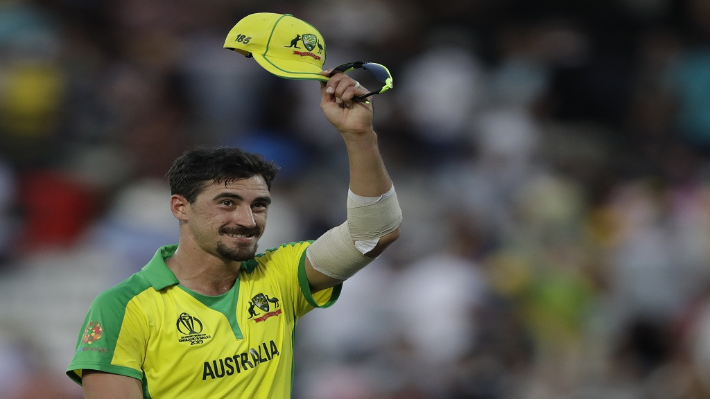 Australia's Mitchell Starc raises his cap to the crowd as he walks off the field after Australia defeated New Zealand by 86 runs in their Cricket World Cup match  at the Lord's cricket ground in London, Saturday, June 29, 2019. Starc took 5 wicket in the match .
