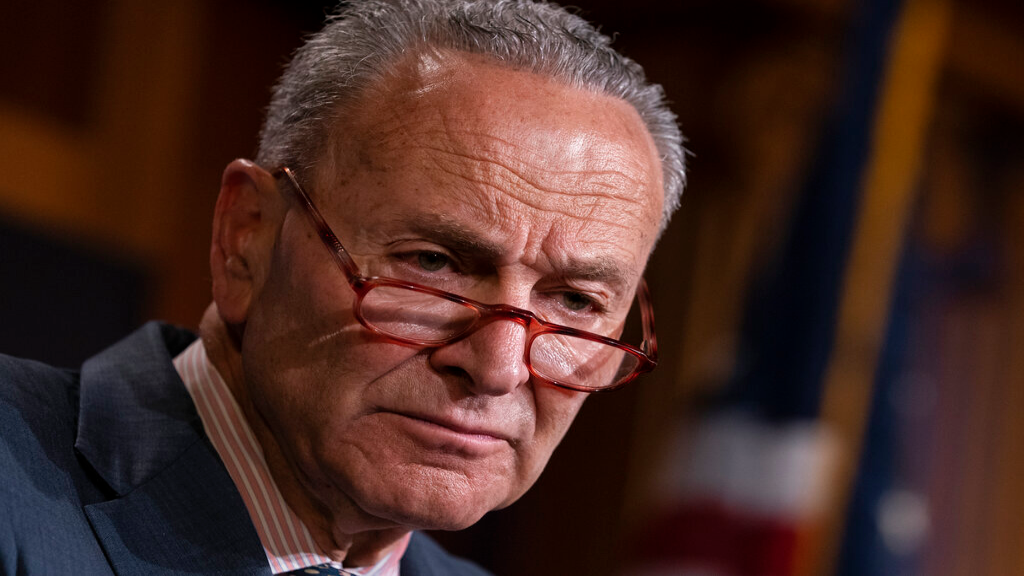 FILE - In this Tuesday, June 18, 2019 file photo, Senate Minority Leader Chuck Schumer, D-N.Y., talks to reporters at the Capitol in Washington. (AP Photo/J. Scott Applewhite, File)
