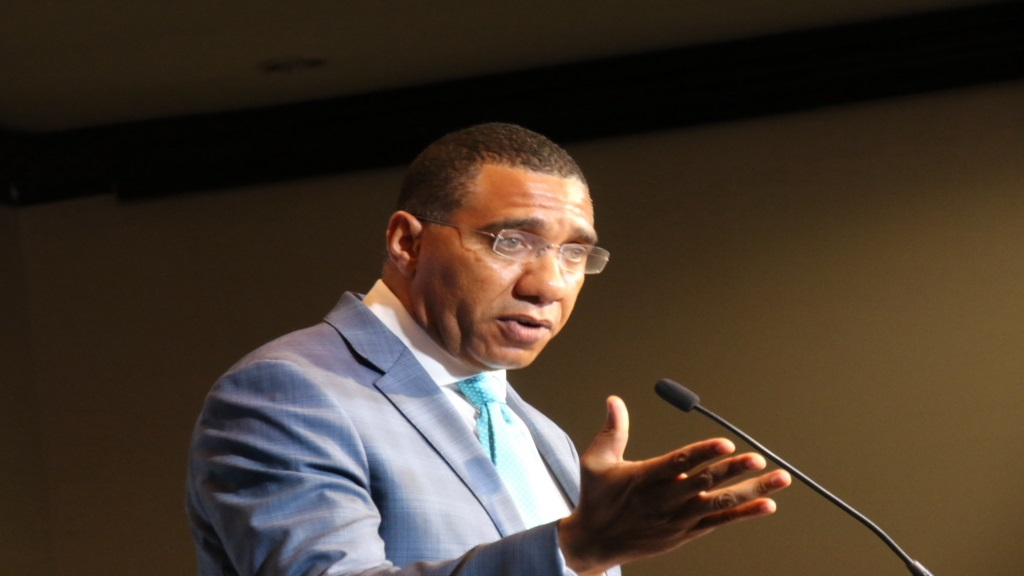 Prime Minister Andrew Holness speaking at the  opening of the 8th Jamaica Diaspora Conference.