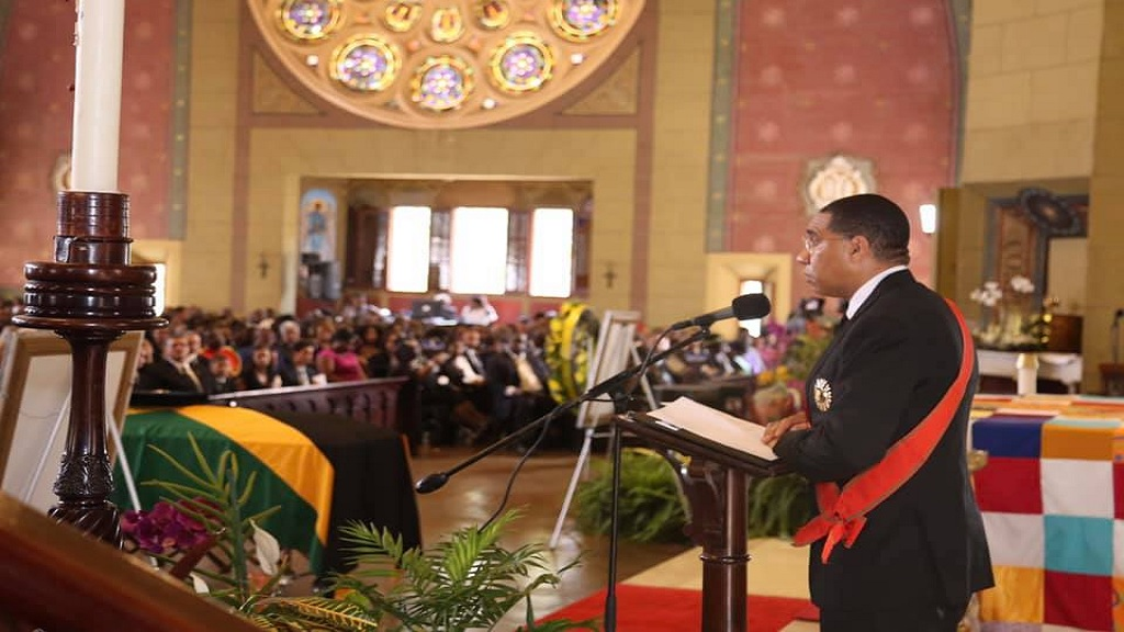 Prime Minister Andrew Holness gives his tribute to late former Prime Minister Edward Seaga at a statefuneral service at the Holy Trinity Cathedral in Kingston on Sunday. (PHOTO: Andrew Holness Facebook)