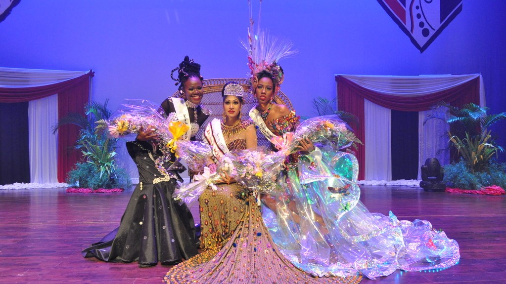 L-R: 2nd Runner Up – Aneka Ayanna Audain – Soul Oasis Cultural Ambassadors, 2018 Miss La Reine Rive Anjali Ramlalsingh – Swastika Dance Group and 1st Runner Up Chanda Marie La Touche – North West Laventille Cultural Movement