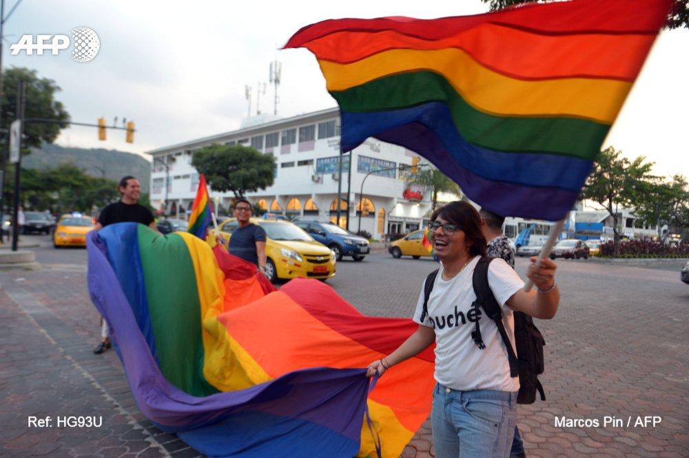 """Des Equatoriens célèbrent la décision de la Cour constitutionnelle d'approuver le mariage """"égalitaire"""", le 12 juin 2019 à QuitoMarcos PIN"""