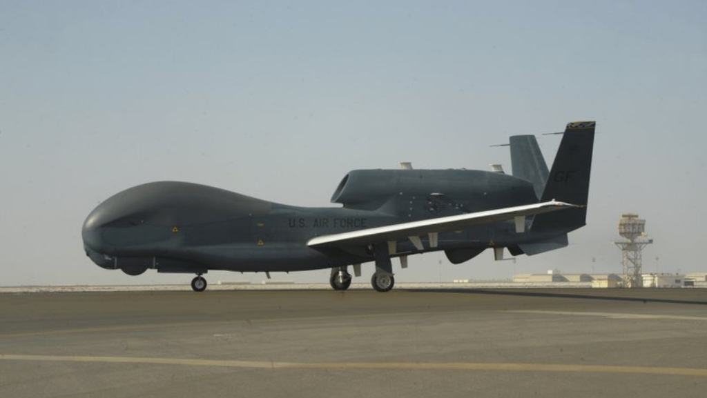 In this Feb. 13, 2018, photo released by the U.S. Air Force, an RQ-4 Global Hawk is seen on the tarmac of Al-Dhafra Air Base near Abu Dhabi, United Arab Emirates. Iran's Revolutionary Guard shot down a U.S. RQ-4 Global Hawk on Thursday, June 20, 2019, amid heightened tensions between Tehran and Washington over its collapsing nuclear deal with world powers, American and Iranian officials said, though they disputed the circumstances of the incident. (Airman 1st Class D. Blake Browning/U.S. Air Force via AP)