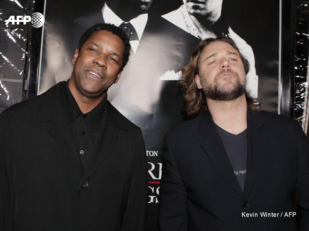 """Denzel Washington et Russell Crowe à la première du film """"American Gangster"""", inspiré de la vie de Frank Lucas"""