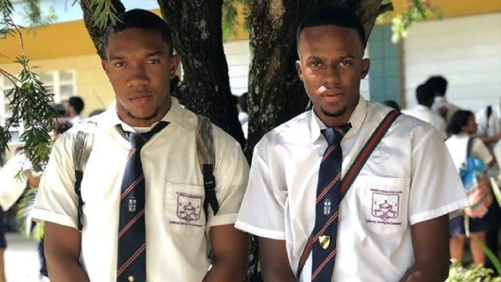 Photo (L-R): Christian Ransome and Randy Jackson were awarded football scholarships to US universities. Both students attended Trinity College East.