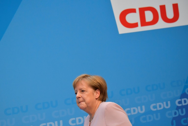 La cheffe démissionnaire du SPD allemand Andrea Nahles parle aux journalistes devant le siège de son parti à Berlin, le 3 juin 2019