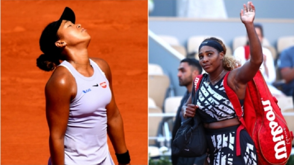 Naomi Osaka (L) and Serena Williams lost in the third round of the French Open.