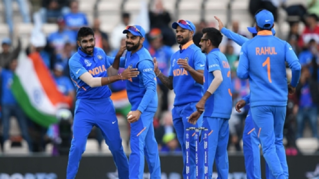 India celebrate a wicket in their win over South Africa.