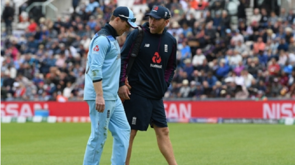England captain Eoin Morgan walks off injury at the Rose Bowl.