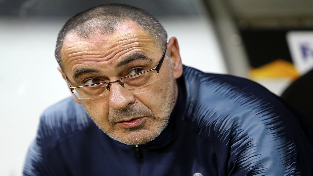 In this Thursday, May 2, 2019 file photo, Chelsea's coach Maurizio Sarri attends their Europa League, first leg semifinal football match against Eintracht Frankfurt in the Commerzbank Arena in Frankfurt, Germany.
