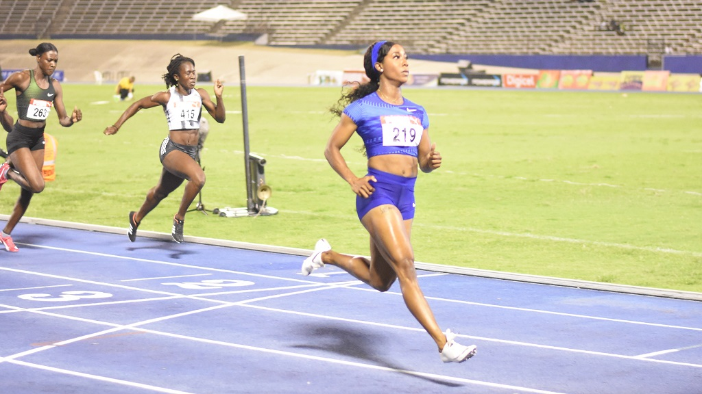 Shelly-Ann Fraser-Pryce competes at the Jamaican trials at the weekend. (PHOTO: Marlon Reid).