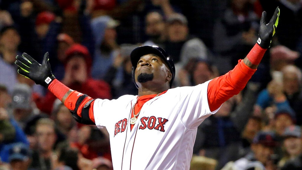 In this April 29, 2016, file photo, Boston Red Sox designated hitter David Ortiz celebrates his two-run home run against the New York Yankees during the eighth inning of a baseball game at Fenway Park, in Boston. (AP Photo/Elise Amendola, File)