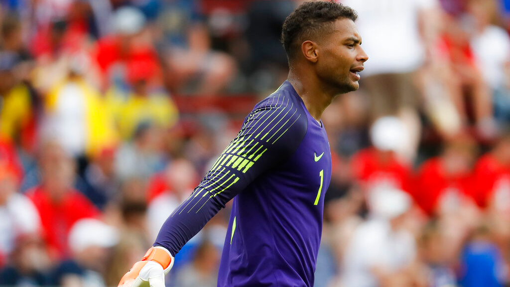 United States goalkeeper Zack Steffen reacts during the second half of an international friendly soccer match against Venezuela, Sunday, June 9, 2019, in Cincinnati. (AP Photo/John Minchillo)