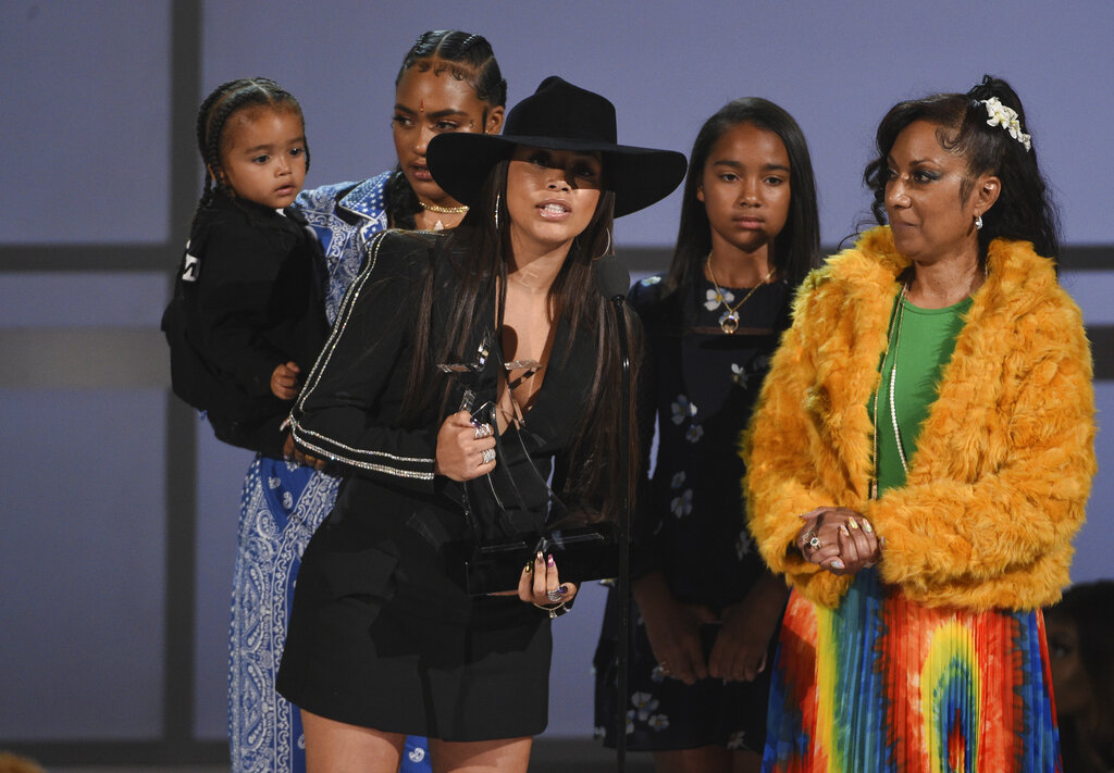 Lauren London accepts the humanitarian award on behalf of late rapper Nipsey Hussle at the BET Awards on Sunday, June 23, 2019, at the Microsoft Theater in Los Angeles. (Photo by Chris Pizzello/Invision/AP)