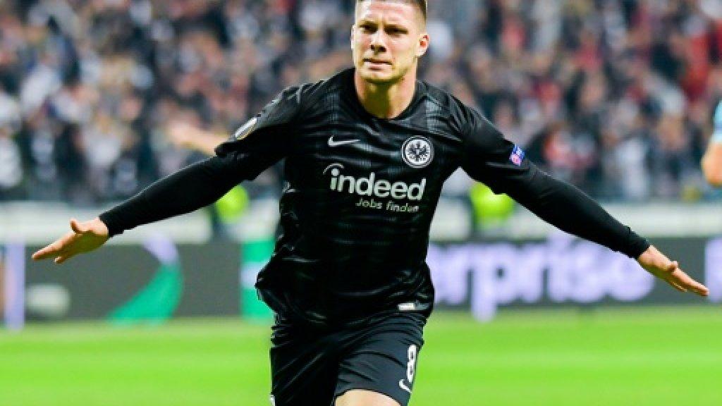 Luka Jovic, sous le maillot de l'Eintracht Francfort, contre Chelsea en Ligue Europa, le 2 mai 2019 en Allemagne dpa/AFP/Archives