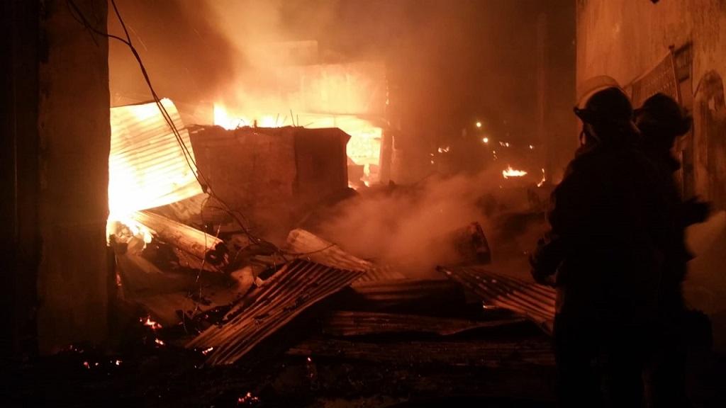 Firefighters battling the blaze on Princess Street.