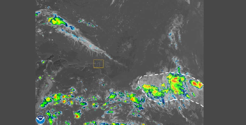 Image courtesy Met Office. The highlighted area shows showers and thunderstorms currently associated with the approaching features.