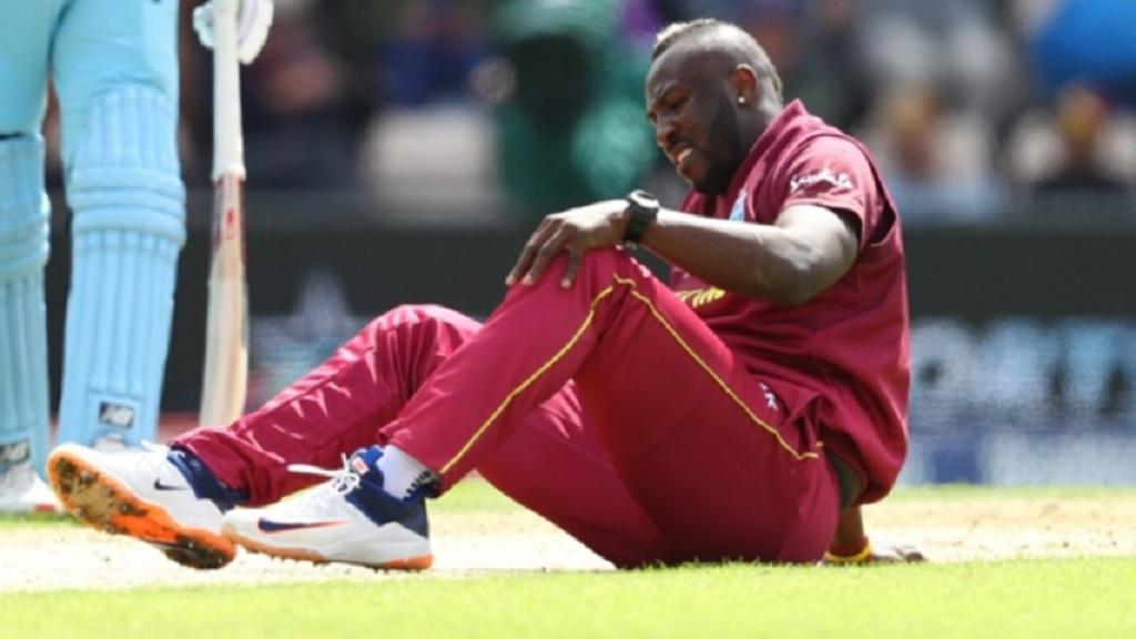 Andre Russell struggled with his knee at the World Cup.
