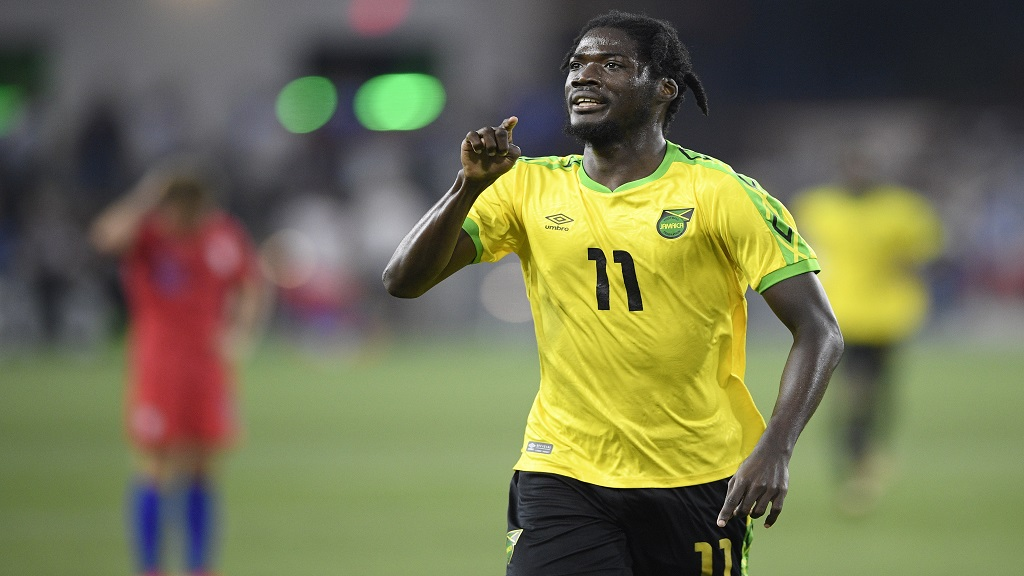 Jamaica forward Shamar Nicholson celebrates his goal during the second half of the team's international friendly football match against the United States, Wednesday, June 5, 2019, in Washington. Jamaica won 1-0.