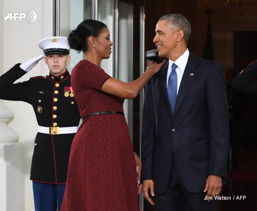 Michelle et Barack Obama à la Maison Blanche, en janvier 2017 AFP