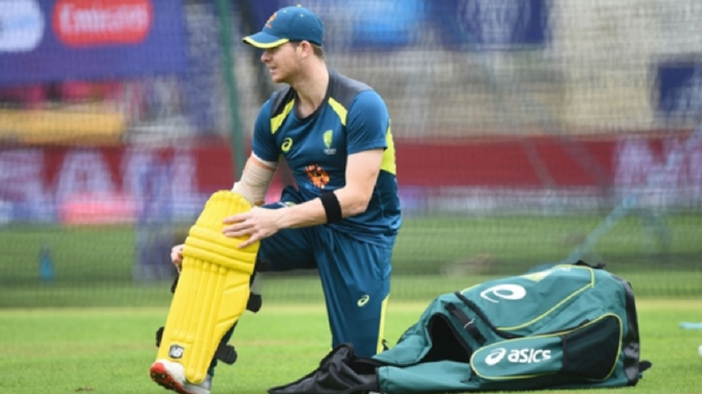 Australia's Steve Smith prepares for a net session.