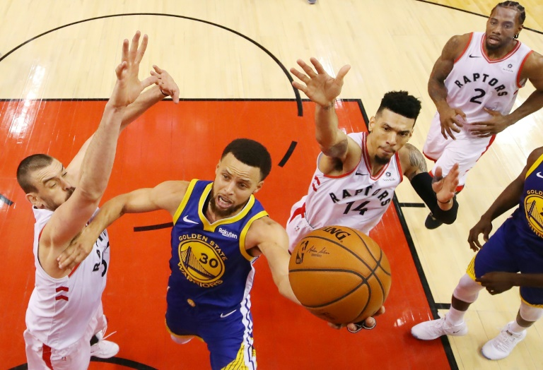 Stephen Curry (c) des Golden State Warriors lors du match face aux Toronto Raptors le 30 mai 2019