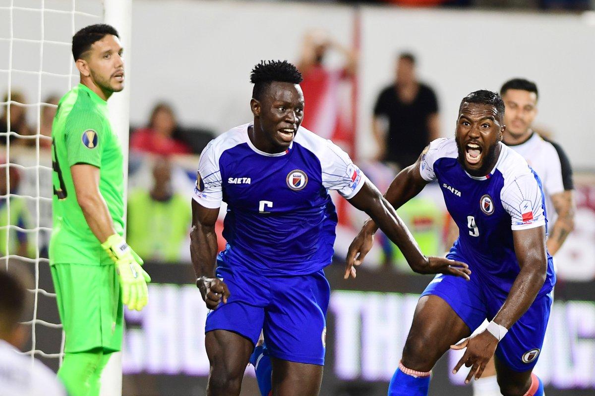 Djimy Bend Alexis célébrant son but victorieux contre le Costa Rica. Photo : Compte twitter de la Gold Cup