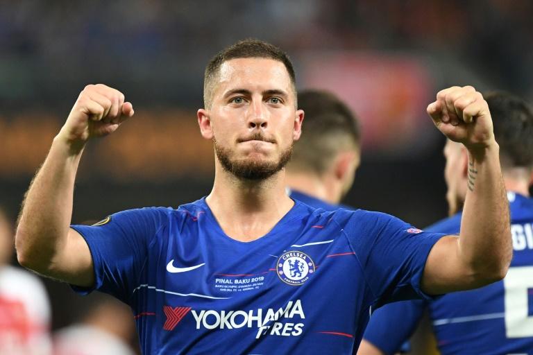 L'attaquant belge de Chelsea Eden Hazard buteur contre Arsenal en finale de la Ligue Europa, le 29 mai 2019 à Bakou. AFP/Archives / OZAN KOSE
