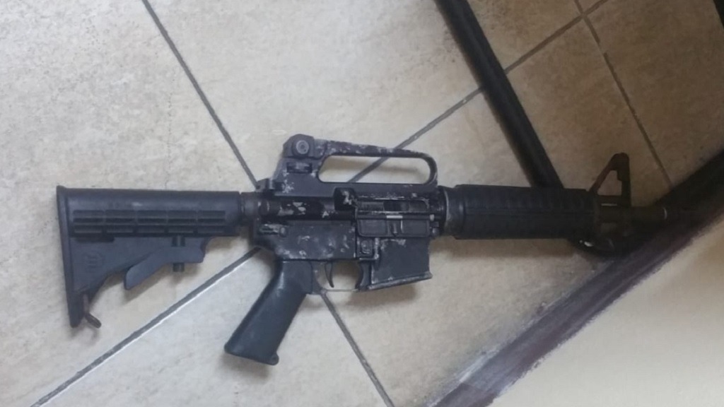 The M16 rifle that was seized by the police in Denham Town, West Kingston on Monday after a car with gunmen was intercepted by law enforcers in neighbouring Trench Town.
