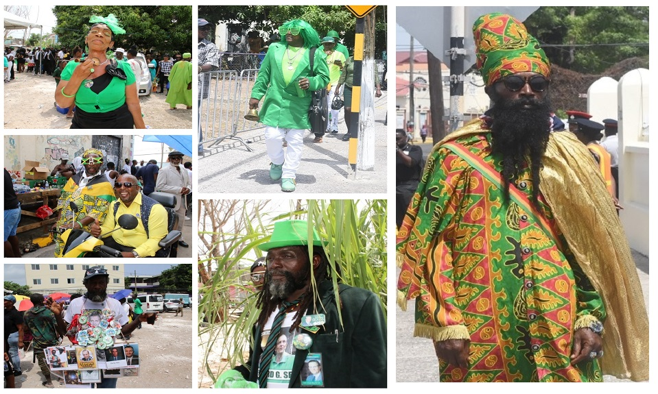 A combination of photos showing mourners fashionably-dressed at former Prime Minister Edward Seaga's state funeral.