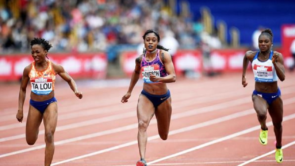 Marie-Josee Ta Lou, Elaine Thompson and Dina Asher-Smith in action at the IAAF Diamond League meeting in Birmingham.