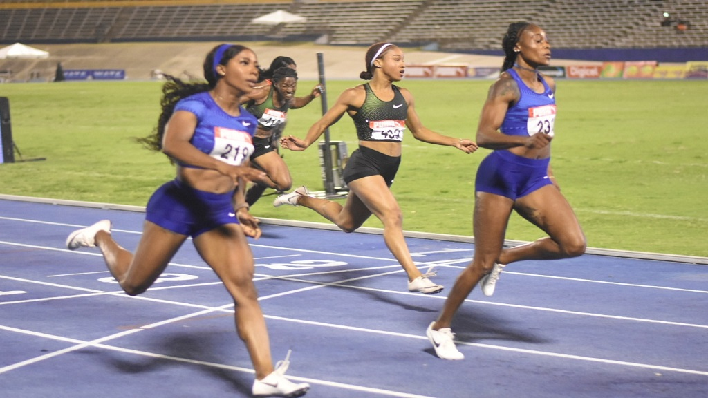 Elaine Thompson gets the better of her MVP teammate Shelly-Ann Fraser-Pryce to win the women's 100m final at the JAAA /Supreme Ventures National Senior and Junior Championships at the National Stadium on Friday, June 21, 2019. (PHOTOS: Marlon Reid).