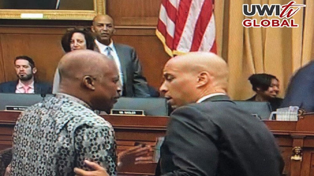 Sir Hilary Beckles (left) Vice Chancellor of the University of the West Indies and Chairman of the Caribbean Reparations Commission and Senator Corey Booker, in conversation at the Slavery Reparations Hearing before the House Judiciary Committee of the US Congress.