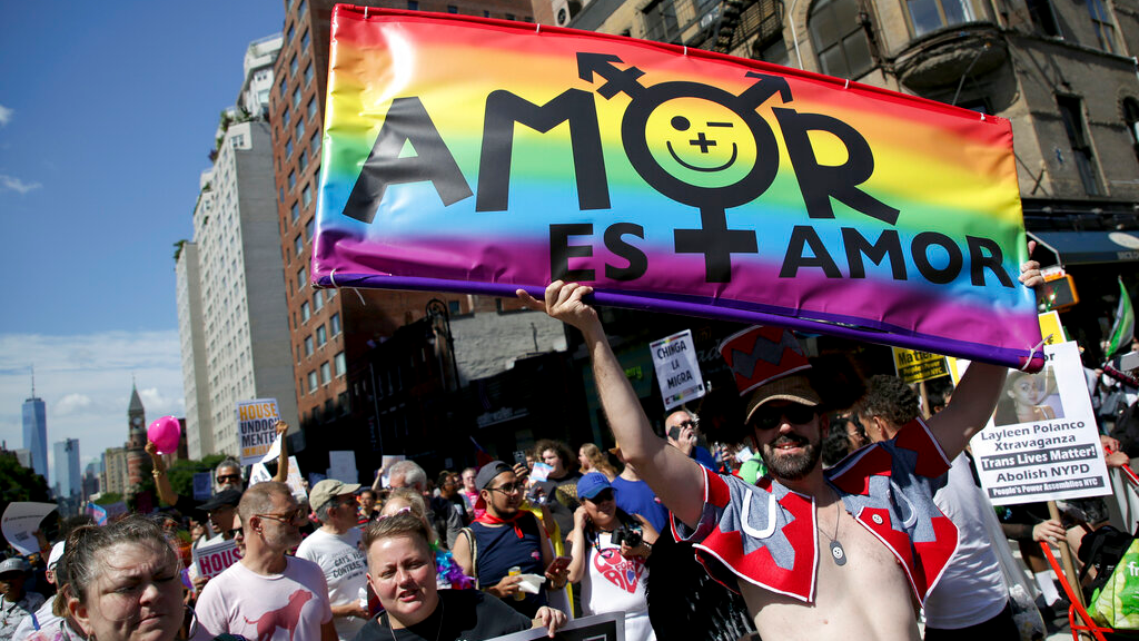 Marchers participate in the Queer Liberation March in New York, Sunday, June 30, 2019. New York is throwing a massive LGBTQ Pride march as other cities including San Francisco, Chicago and Seattle also host parades commemorating the 50th anniversary of the clash between police and gay bar patrons that sparked the modern gay rights movement. (AP Photo/Seth Wenig)