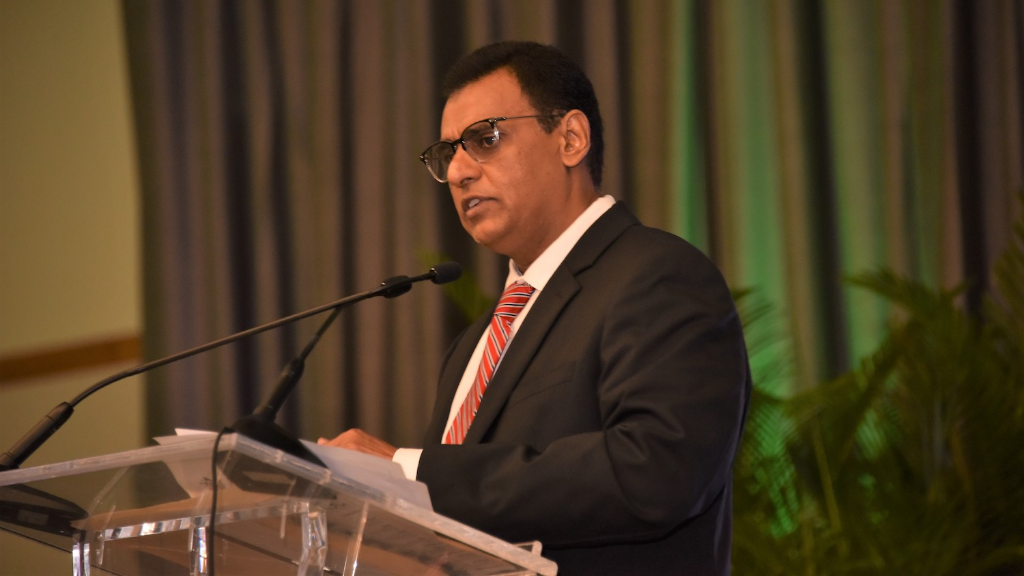 Minister of Works and Transport Rohan Sinanan delivered the feature address at the launch of the Comprehensive National Coastal Monitoring Programme (CNCMP) at Hyatt Regency Trinidad. Photo courtesy the CPU.