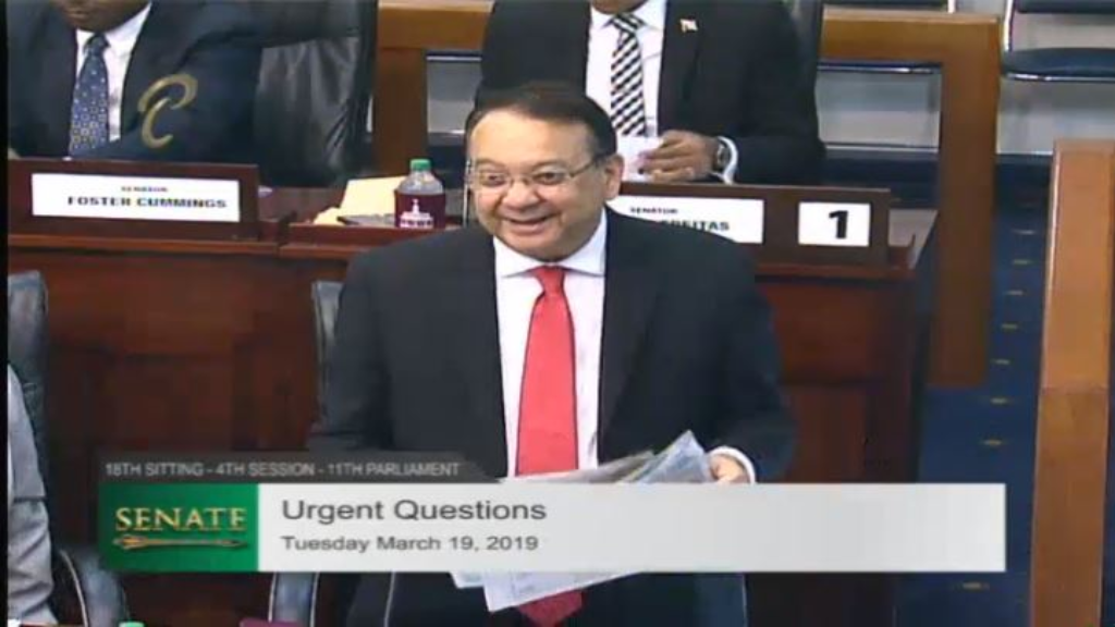File photo: Energy Minister Franklin Khan speaks in the Senate.