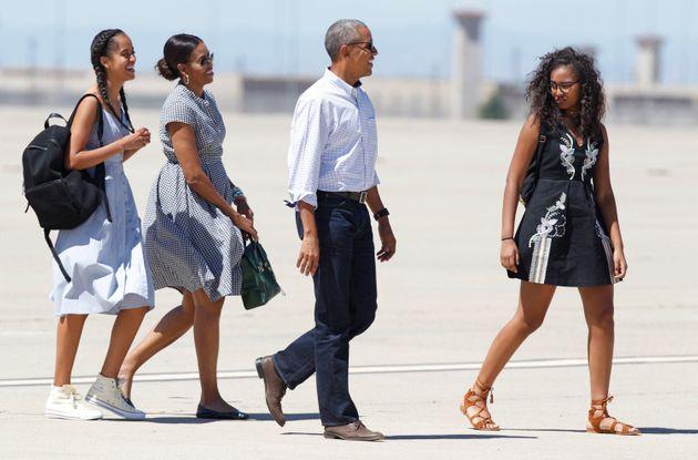 La famille Obama lors d'un séjour dans le parc national de Yosemite, en Californie, à l'été 2016 (illustration