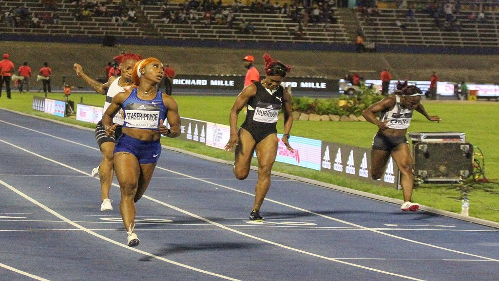 Two-time Olympic gold medallist Shelly-Ann Fraser-Pryce of Jamaica wins the women's 100m at the Racers Adidas Grand Prix at the National Stadium on Saturday, June 8, 2019.