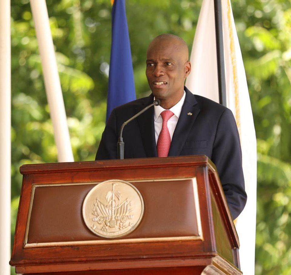 le Président de la République, Jovenel Moise donnant son discours à l'occasion du 24ème anniversaire de la PNH ce mercredi 12 juin 2019