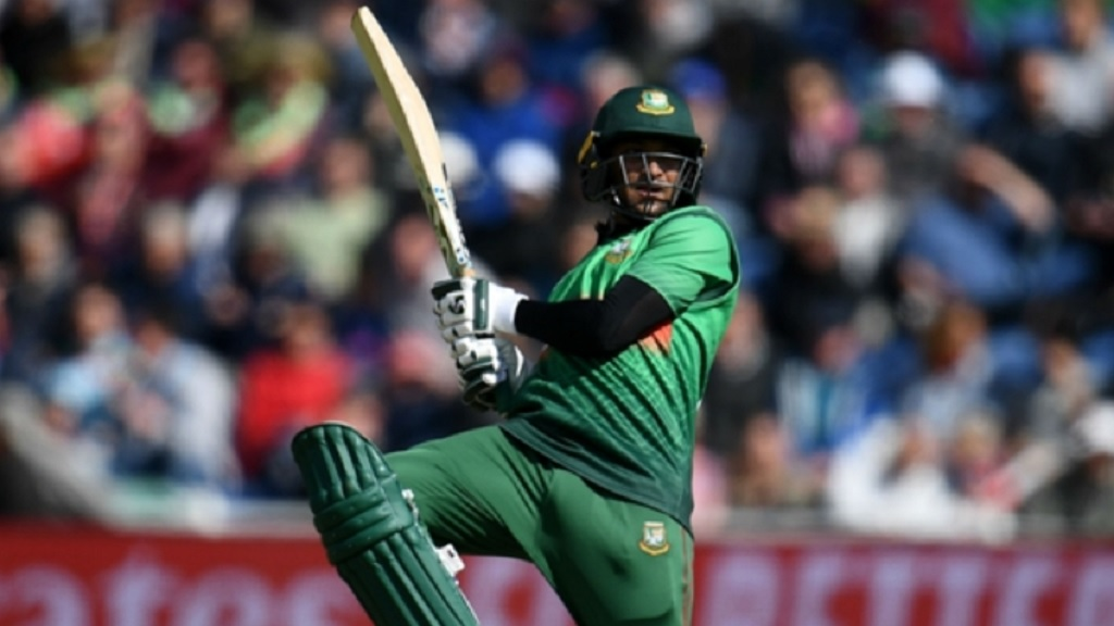 Shakib Al Hasan in action for Bangladesh at the Cricket World Cup.