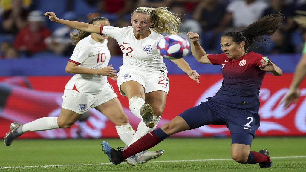 Norway's Ingrid Moe Wold, right, tries to block a shot of England's Beth Mead, left, during the Women's World Cup quarterfinal football match at the Oceane stadium in Le Havre, France, Thursday, June 27, 2019.