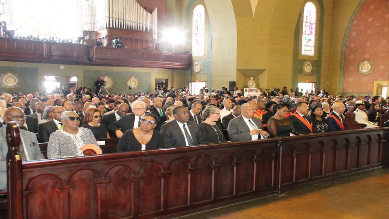 Dignitaries including Prime Minister Andrew Holness and Governor General Sir Patrick Allen at the funeral for the late Prime Minister, Edward Seaga.