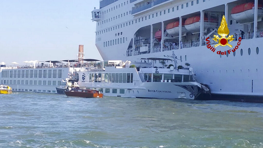 Cruise ship collides with tourist boat in Venice