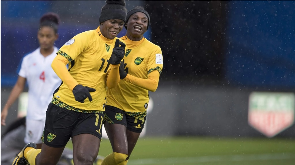 Khadija Shaw (left)) of Jamaica celebrates after scoring against Panama in the third place match of the Concaccaf Women's Championship on October 17, 2018 at the Toyota Stadium in Frisco, Texas.