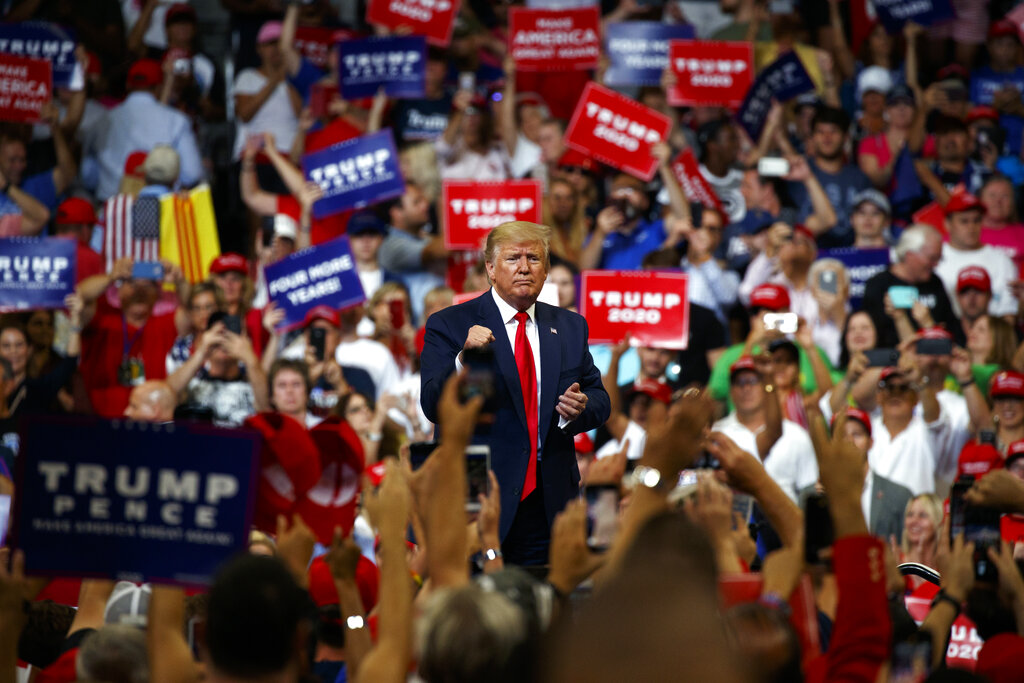 Trump  jabbed at the press and poked the political establishment he ran against in 2016 as he kicked off his re-election campaign with a grievance-filled rally focused more on settling scores than laying out his agenda for a possible second term. (AP Photo)