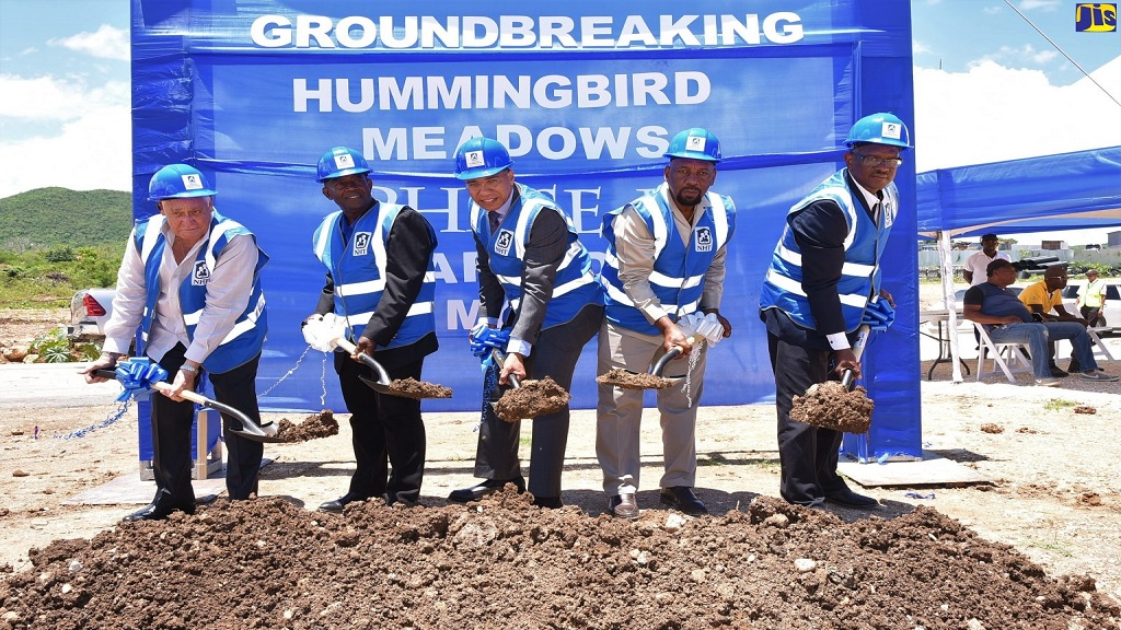 PM Andrew Holness broke ground on the the project which will comprise over 300 one and two bedroom houses and 70 serviced lots. (Photo JIS)