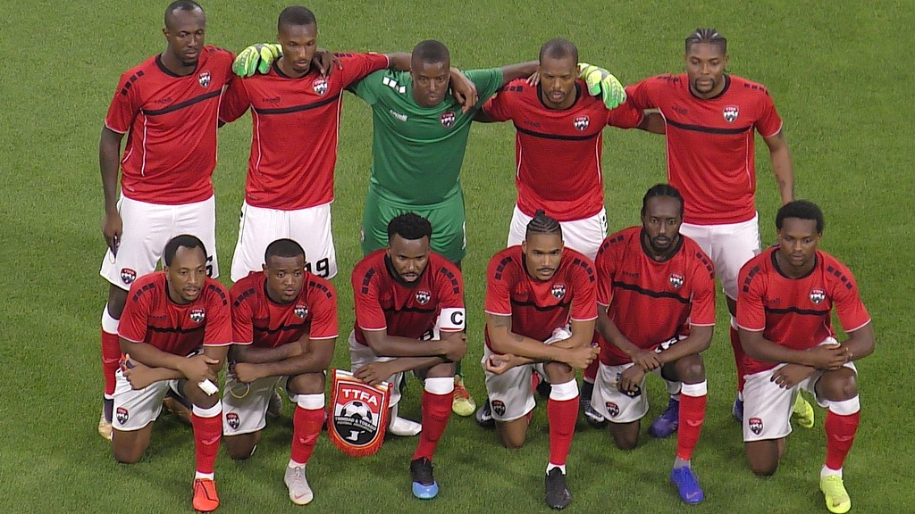 T&T Men's Team in their Capelli strip for the international friendly against Japan. Photo/TTFA Media.
